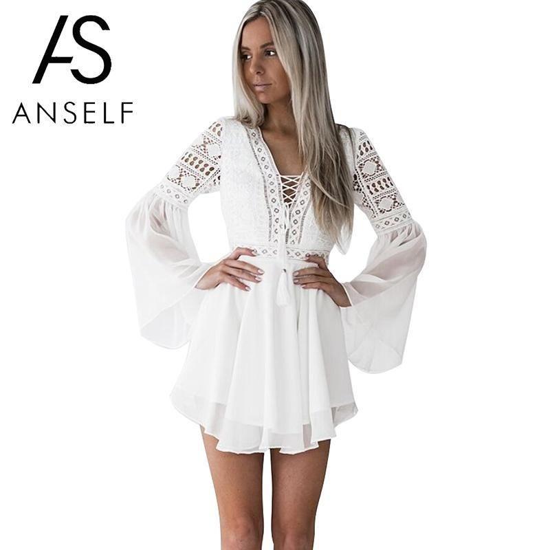 Hollow Out White Dress Sexy Women Mini Chiffon Dress Criss Cross Semi-sheer Plunge V-Neck Long Sleeve Crochet Lace Dress Black T200106