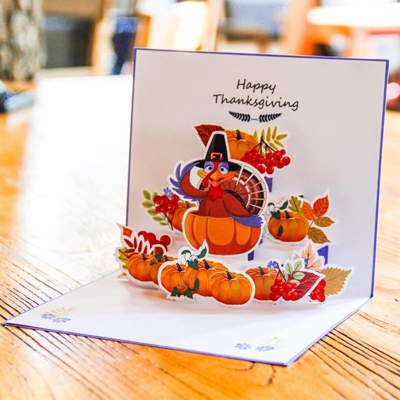 Creative 3D Благодарение поздравительные открытки Индивидуальный цвет Printed Поздравительная открытка Мультфильм Турция Тыква карты бумаги для детей