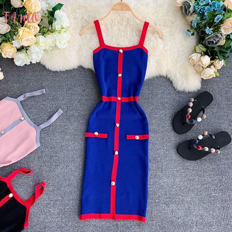 Robe sans manches Bandage Mini femmes Vestidos 2019 extensible Mode Gilet sans manches Top Bouton élégant Robes moulantes