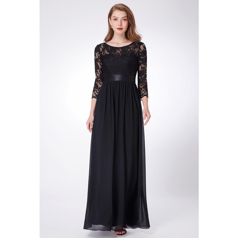3/4 lange Ärmel Brautjungfernkleider 2020 Lace Chiffon Hochzeit Kleid bodenlangen Abendkleid