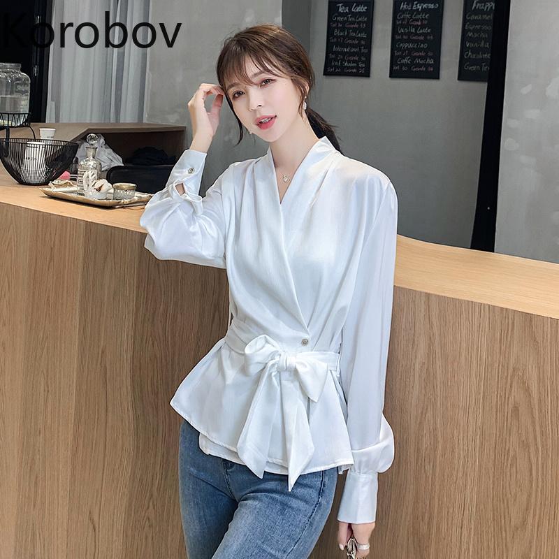 Korobov 2020 Nouvelle arrivée Femmes Printemps Eté Blouses Vintage soie à manches longues femmes Chemises coréenne Croisement Bow Blusas Mujer