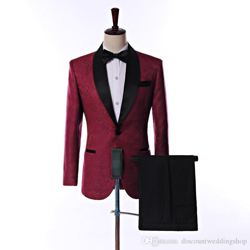 Ultimo design lato sfogo un pulsante bordeaux scialle di paisley bavero dello sposo smoking da sposo uomini abiti da sposo groomsmen (giacca + pantaloni + cravatta) K18