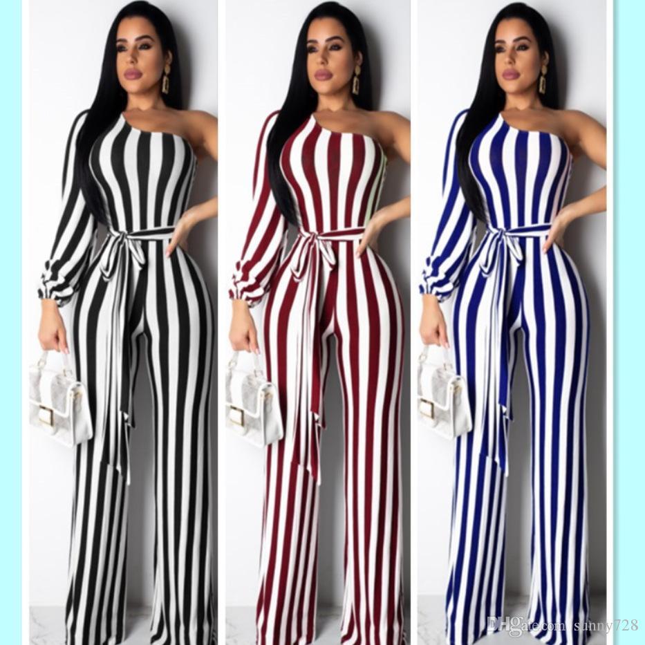 2019 Best Sales Fashion Stripes Schulter-lange Jumpsuits Hosen für Frauen Sexy langen Ärmeln Sash OL Partei beiläufig Jumpsuits Ganzkörperansicht
