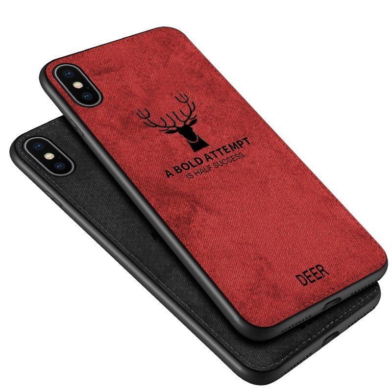 천 패브릭 질감 3D 양각 사슴 케이스 아이폰 (11) 프로 XR XS 최대 X 6 6S 7 8 플러스 프리미엄 소프트 TPU 가장자리 전화 케이스 커버 새로운 고급