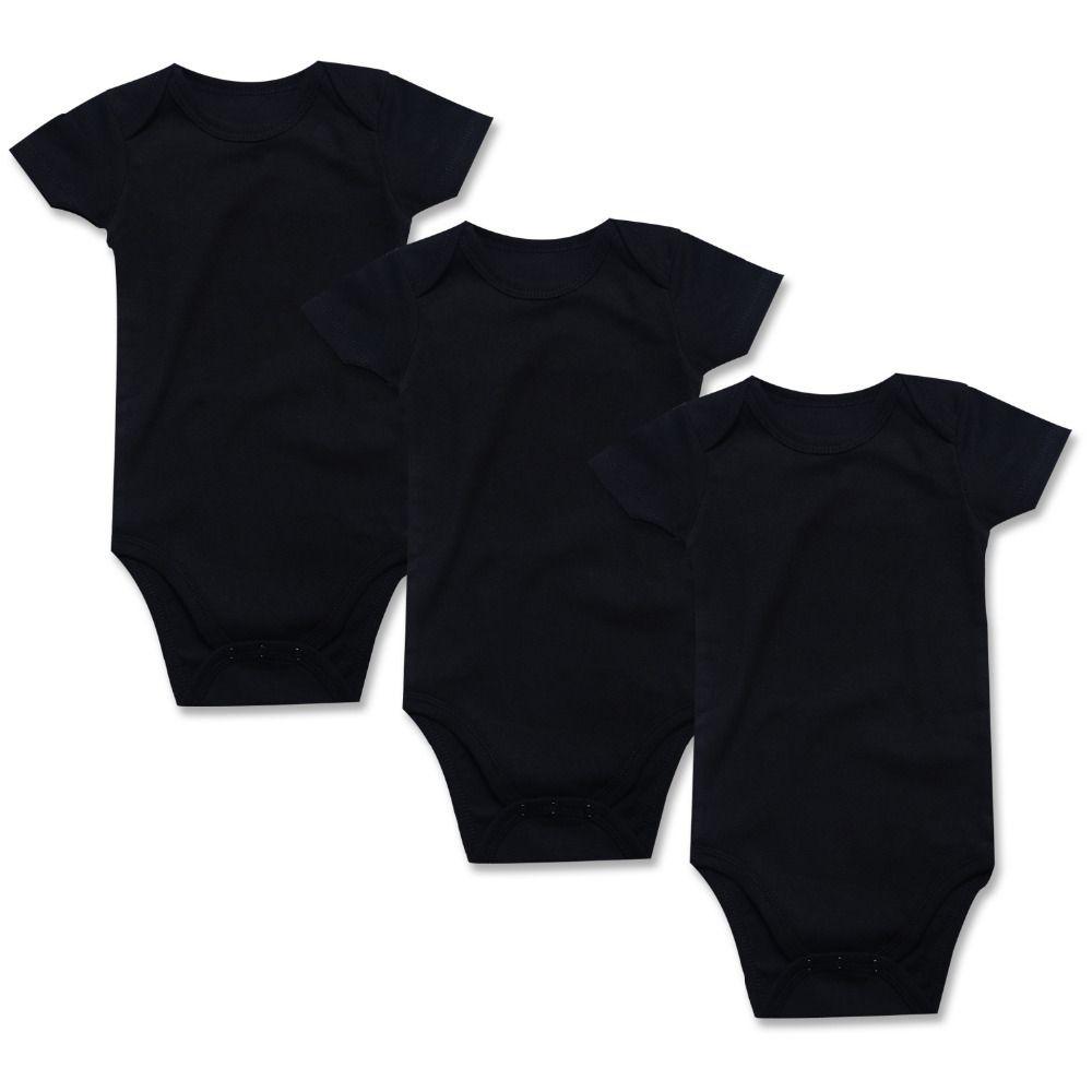 3 Pcs Bodysuits For Newborns Unisex Baby 100% Cotton Plain Black Bodysuits Short Sleeve Infant Summer Clothing Set Outfit 0-24m Y19061201