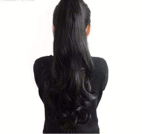 2019 24'' Synthetic Ponytail Wowen Wavy Claw Clip In Hair Extension Heat Resistant Fake Pieces