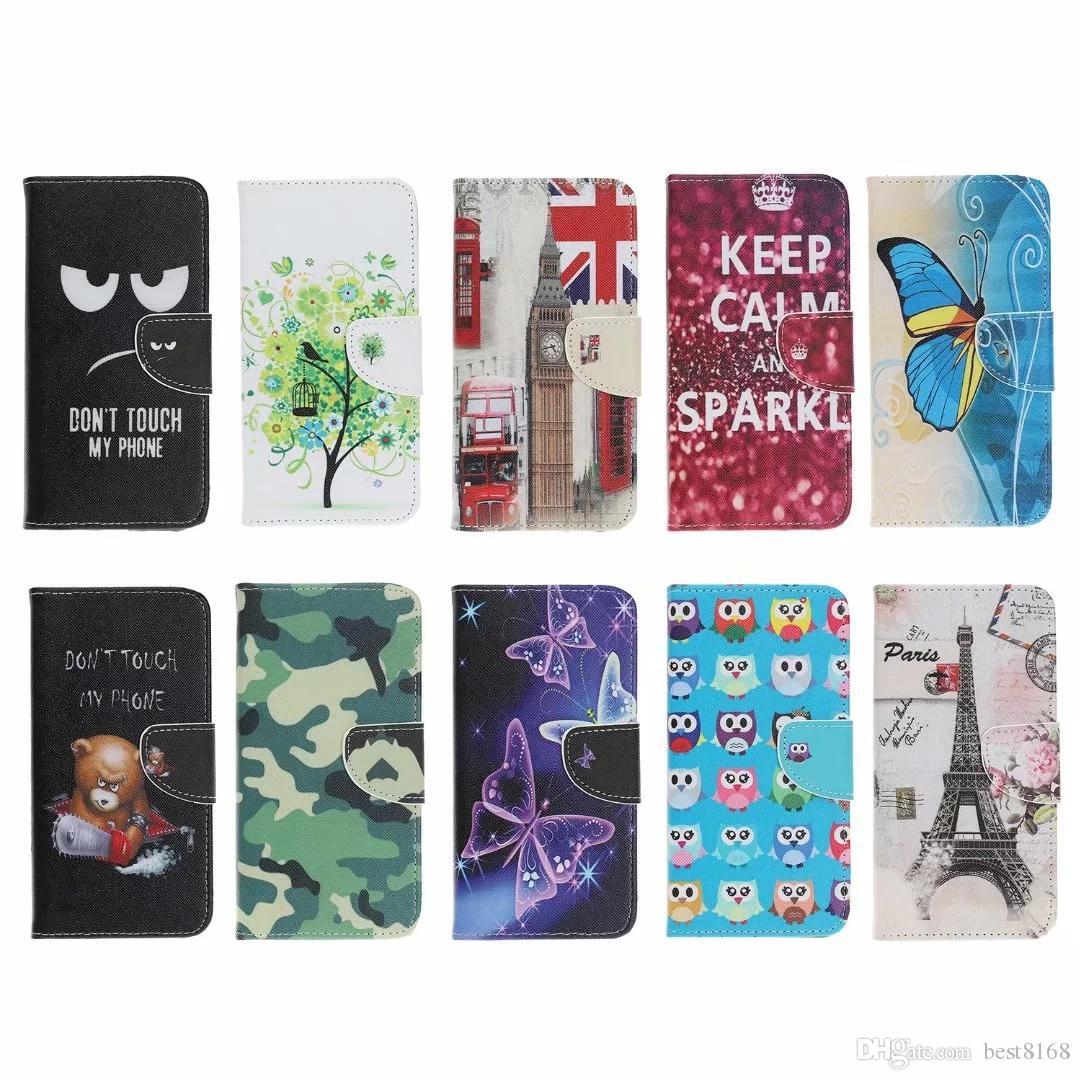 Camouflage Portafoglio in pelle per Iphone 12 11 XR XS MAX 8 7 6 Galaxy Note 10 S10 A10 A20 UK USA Flag Flower farfalla Torre Eiffel di copertura