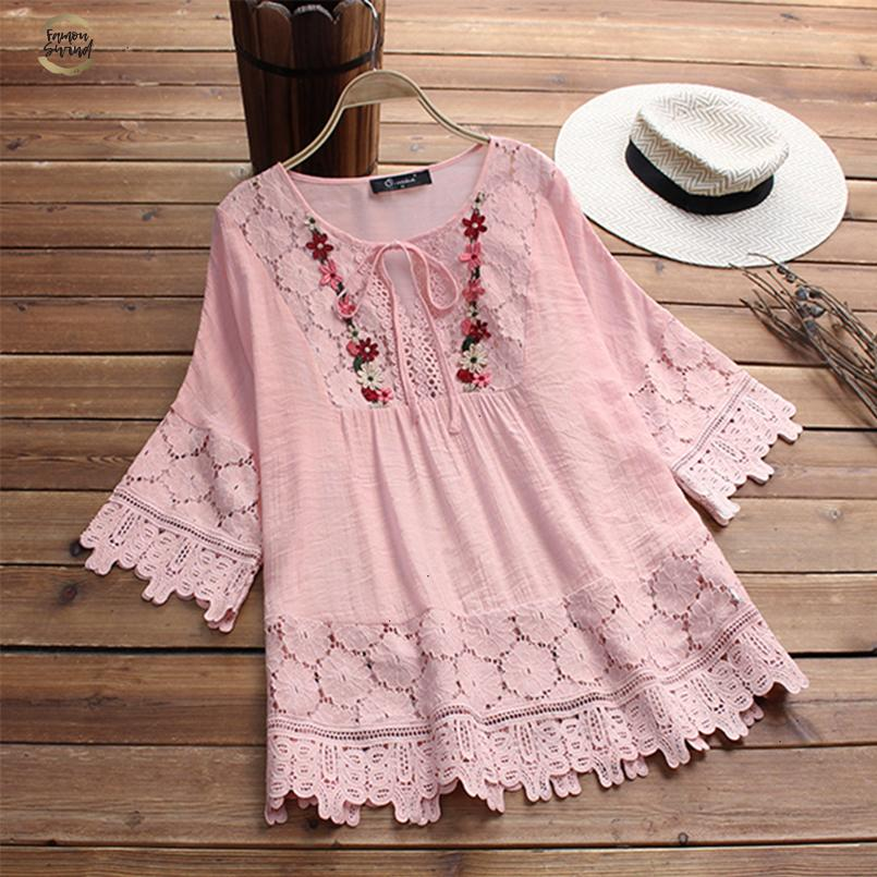 2019 Fashion Spring Lace Crochet Top Women Vintage Blouse Female Casual Flare Long Sleeve Shirt Embroidery Patchwork Work Blusas