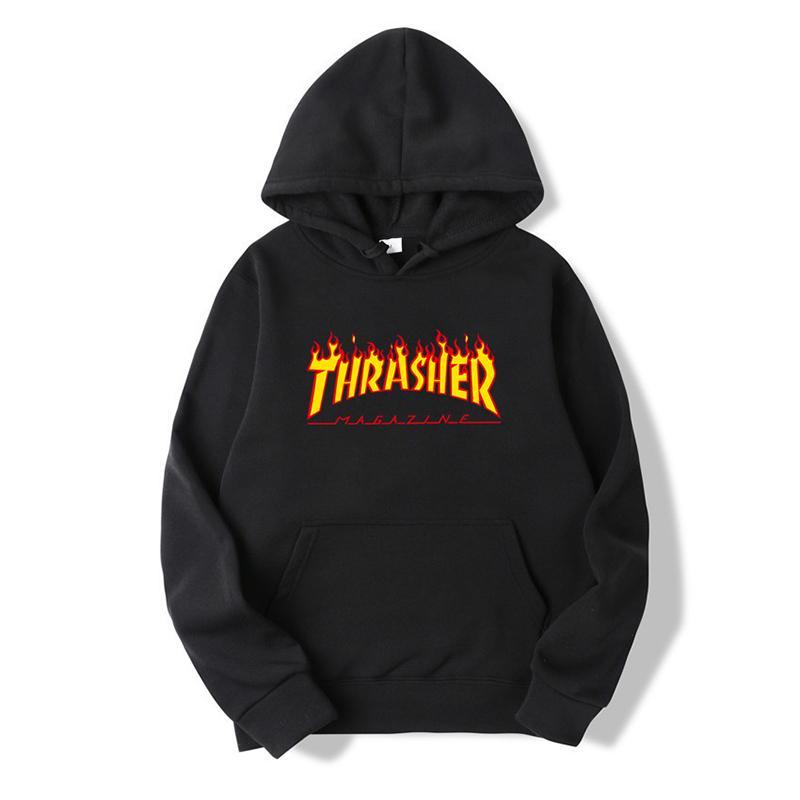 Marke Menshoodies-Skateboard Hoodie Hip Hop Lässige Thrash Flamme Printed Hoodie Sweatshirts für Männer und Frauen Top-Qualität w / Labels