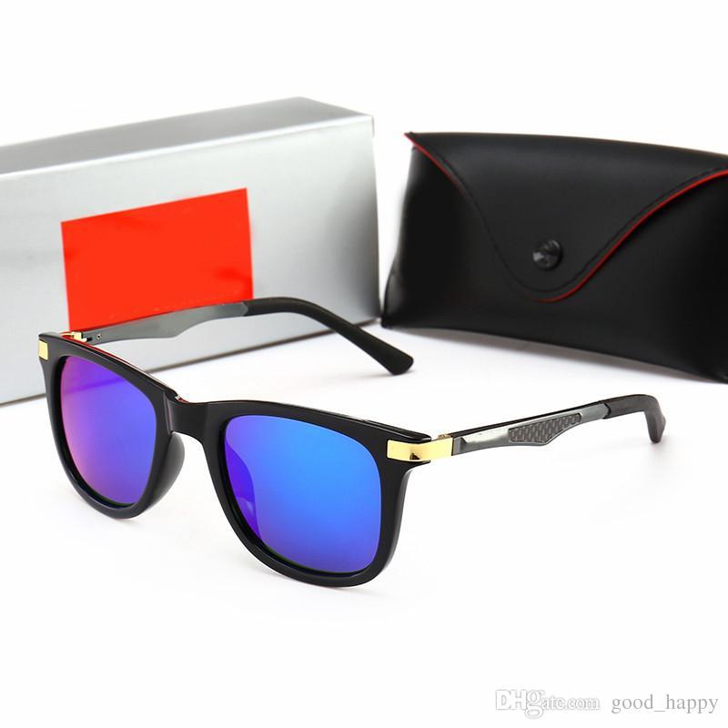 Retro Design Sunglasses UV400 Mirror Blue Lens Sun Glasses Brands Eyewear for Mens Women Cycling Driving Fashion Black Color Freeshipping