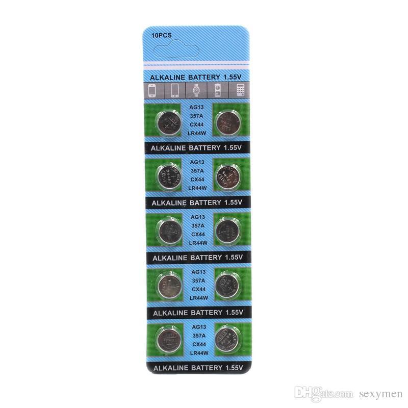 10 قطع / بطاقة AG13 زر بطاريات LR44 357 r44 a76 SR1154 LR1154 خلية عملة قلوية البطارية 1.55 فولت ag 13