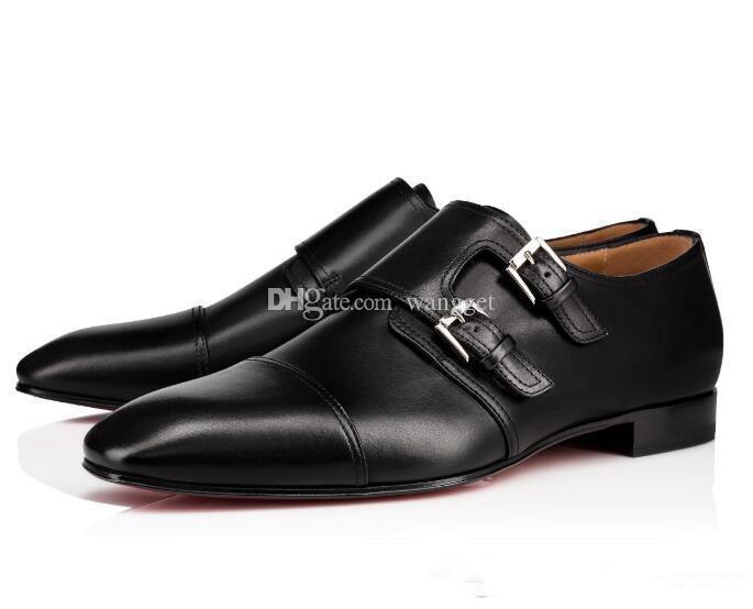 Yeni Moda Centilmen Erkek Ayakkabı kırmızı Alt loafer'lar Lüks Oxford Toka Gerçek Deri Kırmızı Sole Parti Gelinlik Yürüyüş Ayakkabıları