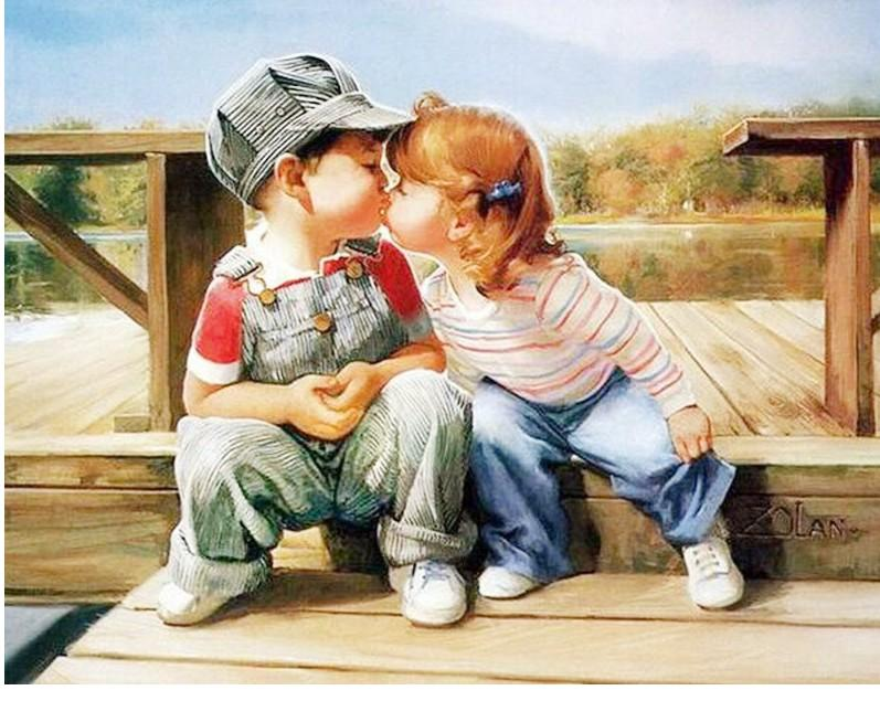Diy Painting By Numbers Kids Kissing Child Pure Hand Drawing Paintings By Numbers Acrylic Home Wall Decoration Posters 40x50cm