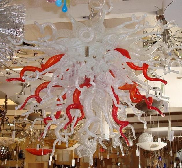 Elegante Comedor Lámparas usados rojo y blanco Chihuly, tipo Mini lindo del vidrio del arte iluminación pendiente