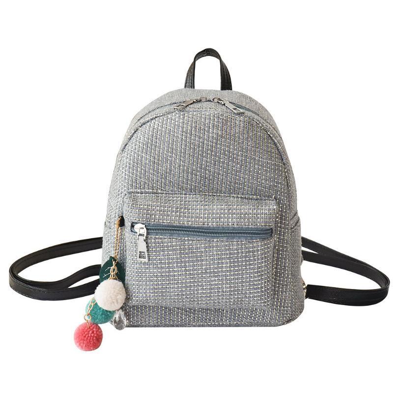 Mini рюкзак Женский Малый Plaid Свободный Открытый Рюкзак с Hairball Простые моды Подвеска дорожные сумки пакет Мешком дос роковых