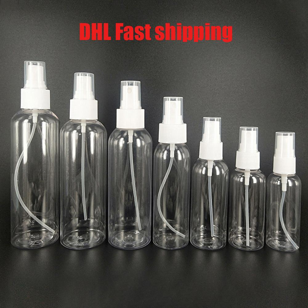 DHL 30/50/60/100 ml Bottiglie Riutilizzabili Viaggio Bottiglia di profumo di plastica trasparente Atomizzatore vuoto piccolo flacone Spray tossico libero e sicuro