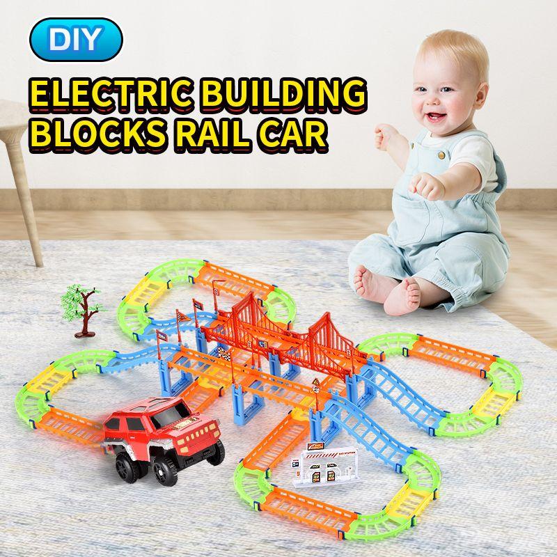 TW2006145 DIY rail block Electric rail car total 108PCS included Suv Building Blocks Rail Car trailer toys