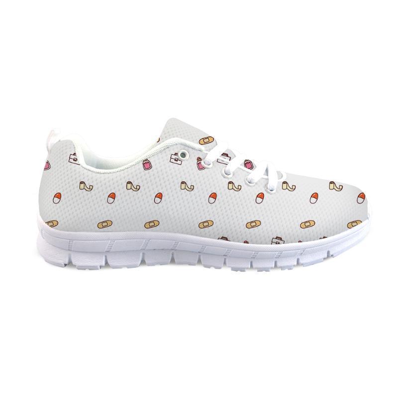THIKIN zapatos diminutos Impresión linda planas para las mujeres señoras de viaje con cordones de las zapatillas de deporte de malla calzado primavera de las niñas diario Zapatos Mujer