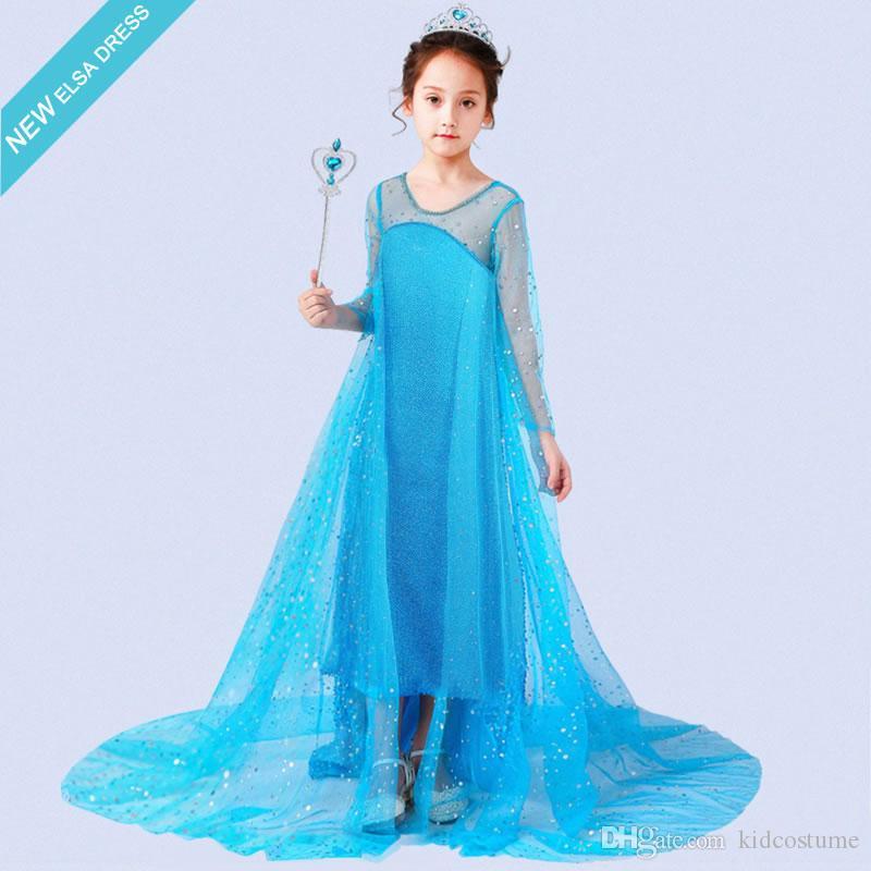 Merletto della ragazza costume cosplay di Halloween per il bambino principessa Abiti Snow Queen bambini Disguise Cerimonia di nozze Frock Kid sera Maxi Tunica