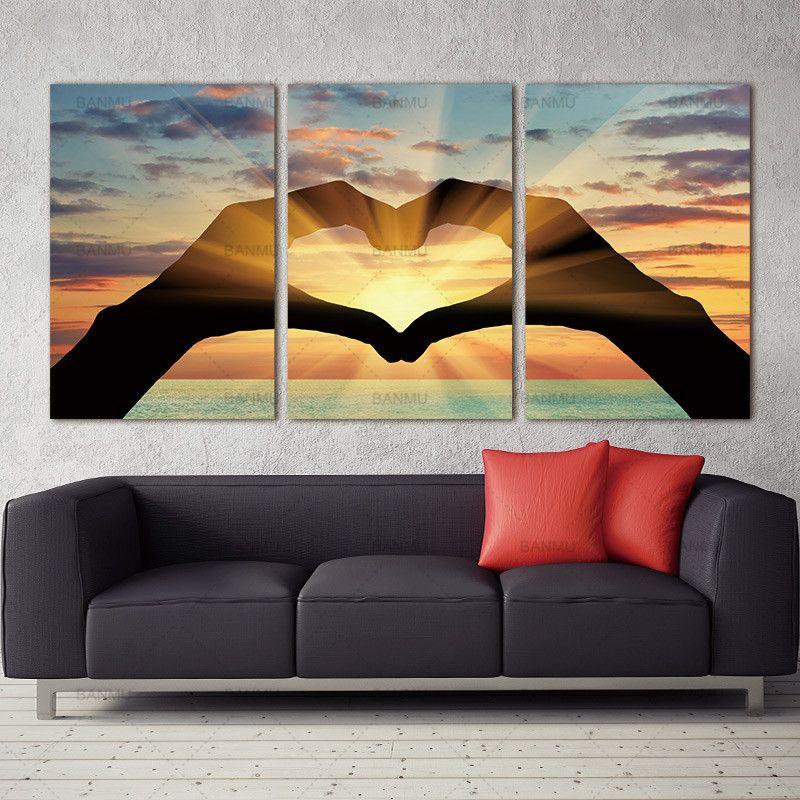 Wandbild auf Leinwand Wandkunst Bild Ozean-Herz-Modular Bilder druckt auf dem Wandgemälde Ölgemälde