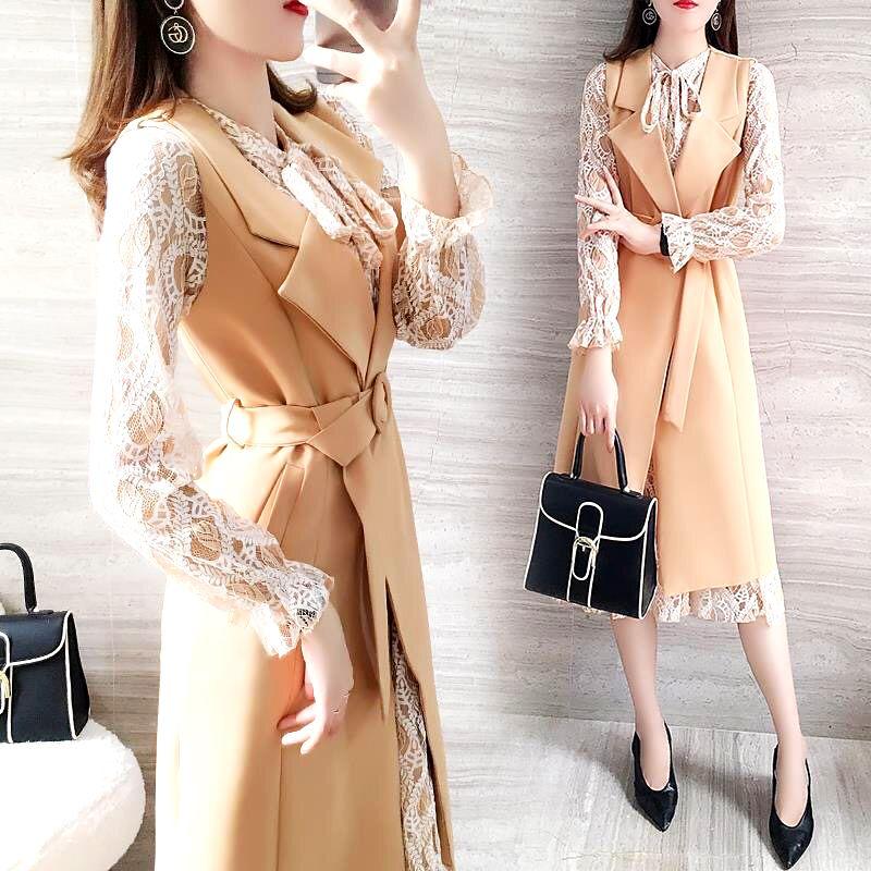 New Spring Zweiteiler Frauen Kleidung volle Hülsen-dünne Spitze Kleid und Ärmel Langer Mantel mit Gürtel Mode-Art-Anzug SL389