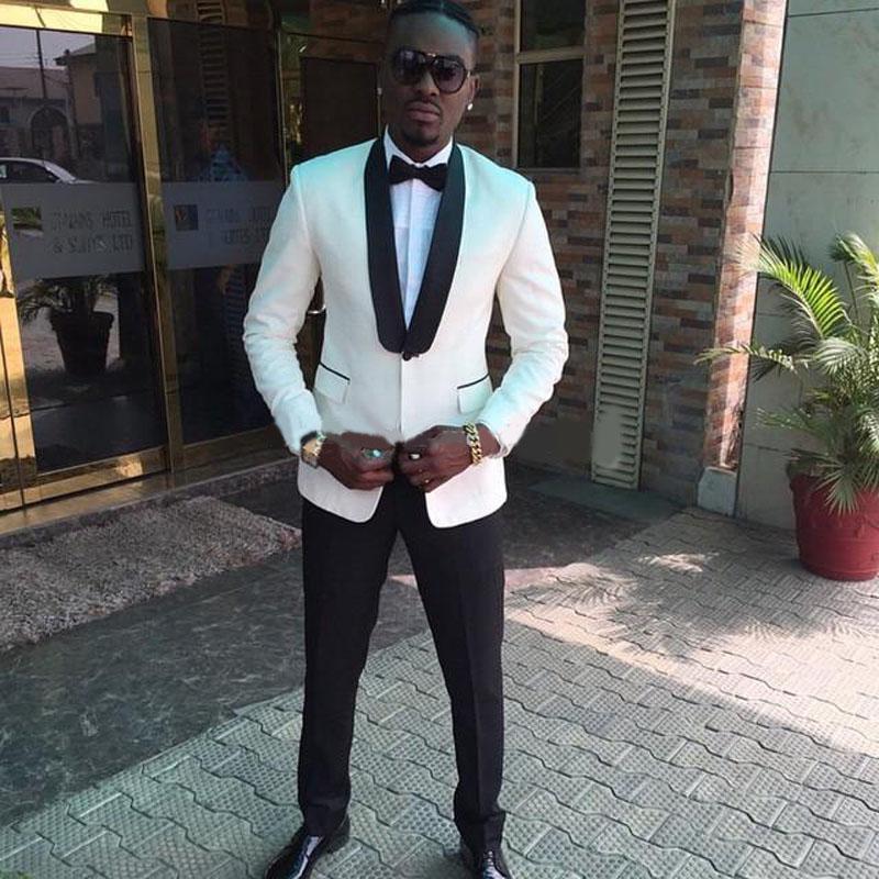 Classy Blanc One Button Hommes Prom costumes Châle mariage Smokings Lapel garçons d'honneur pour les hommes Blazers deux pièces costume formel Veste + Pantalon + Bow Tie