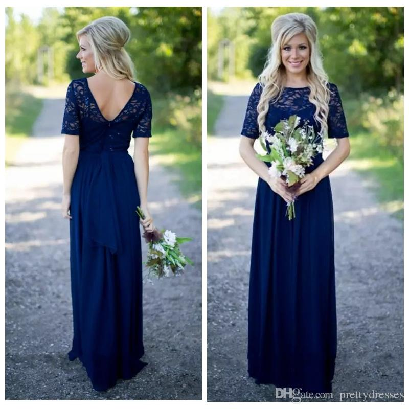 Short Sleeves Lace Top A-Line Long Bridesmaids Dresses Sweep Train Custom Formal Honor Of Maid Cheap Ladies Maxi Prom Party Gowns Plus Size