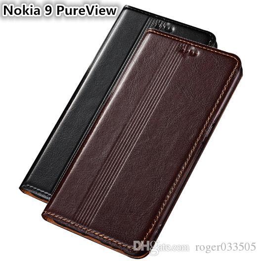 Qx14 genuíno caso de couro para nokia 9 pureview capa magnética case para nokia 9 pureview phone case fundas com cartão titular