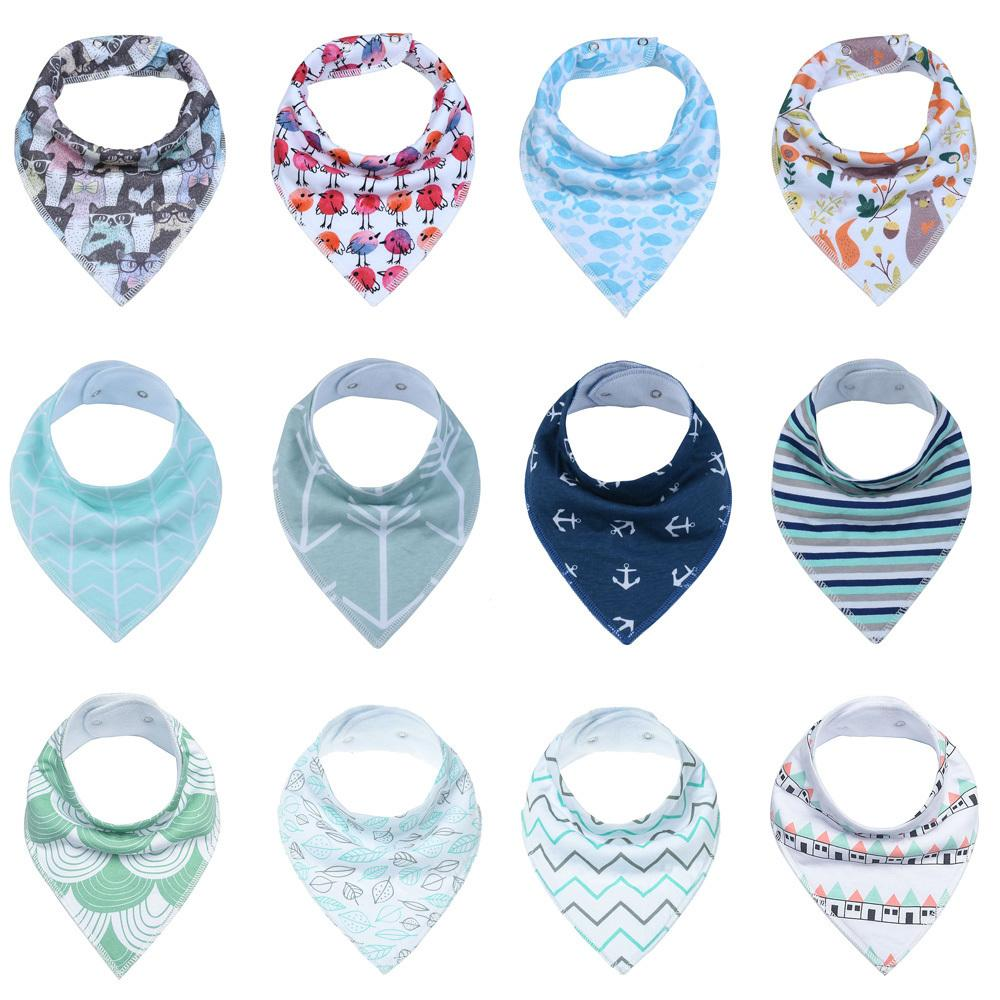 12pcs Unisex Bandana Drool Adjustable Snaps Bibs For Drooling And Teething 100%cotton Gift Set Useful Baby Accessories J190522