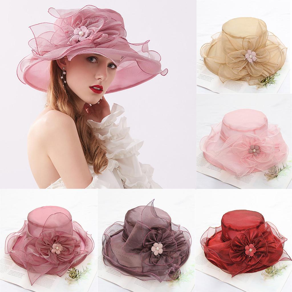 feitong Women's Summer Women Wedding Formal Church Organza Wide Brim Hat Church Kentucky Derby Tea Party Wedding Hat#Y25