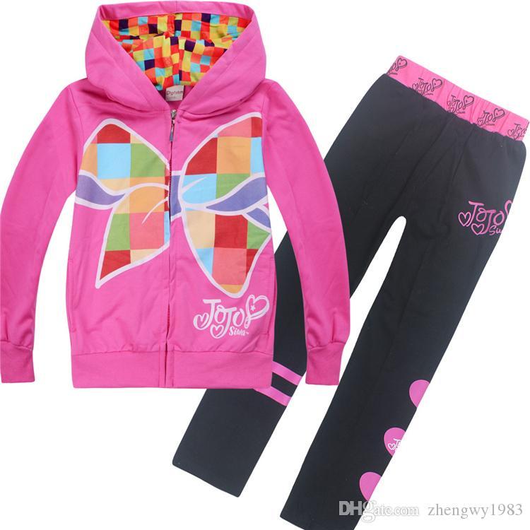 jojo Siwa sistemas de la ropa 4-12t cremallera para niños ropa de las muchachas de los sistemas hoodies + pantalones piezas de diseño 110-150cm niños niñas ZSS356