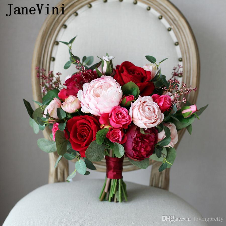 JaneVini 새로운 도착 로맨틱 레드 웨딩 신부 꽃다발 실크 장미 신부 지주 꽃다발 부르고뉴 핑크 인공 꽃 꽃다발 MARIAGE