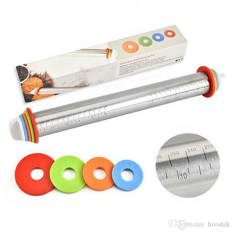 Adjustable Stainless Steel Rolling Pin With 4 Removable Thickness Rings