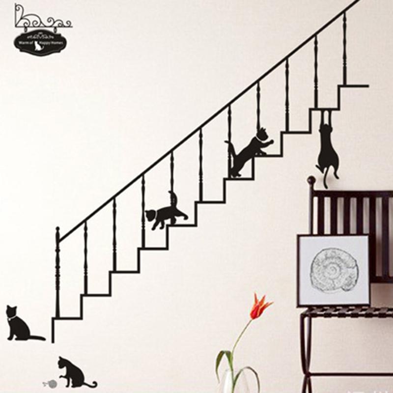 Cartoon Black Cat Climbing The Stairs Wall Stickers Home Decor Living Room Bedroom DIY Art Mural Decals Animals Vinyl Wallpaper