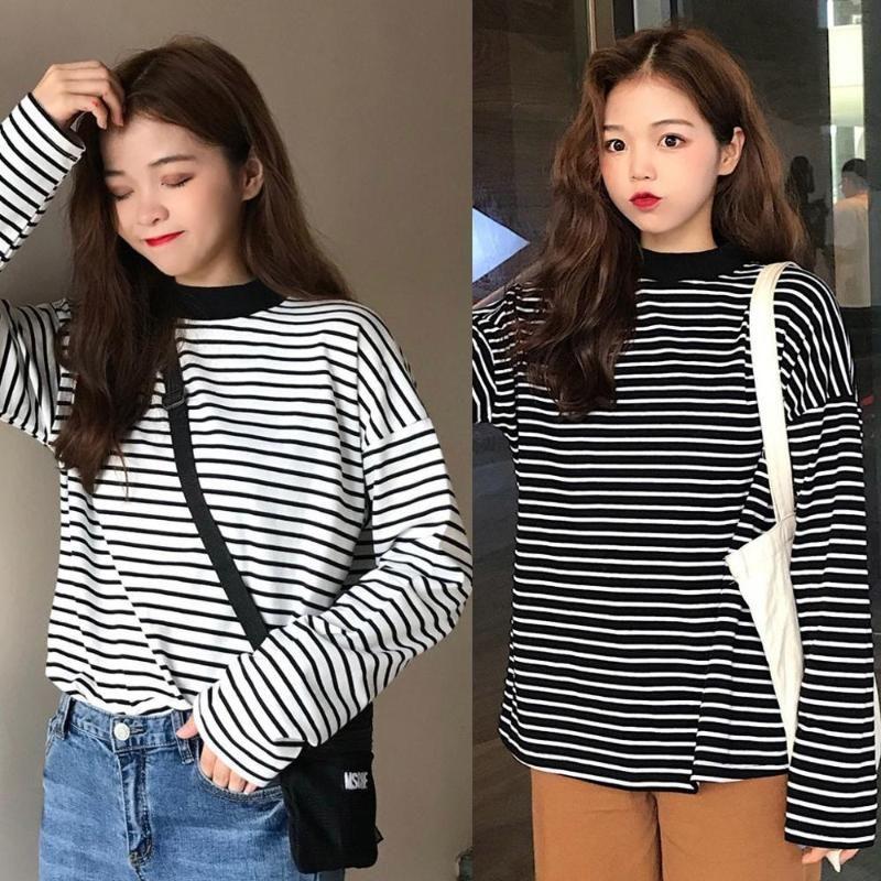 Women's T-Shirt Tee Shirts Woman 2021 Spring Korean Harajuku Striped Turtleneck For Women Long Sleeve Pullover T-shirts Tops #0221