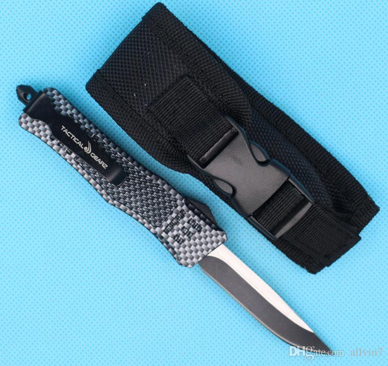 Calidad superior Allvin 7 pulgadas 616 Mini Auto Cuchillo Táctico Auto Fibra de carbono Color 440C Punto de gota de borde único Blade fino Edc Cuchillos de bolsillo