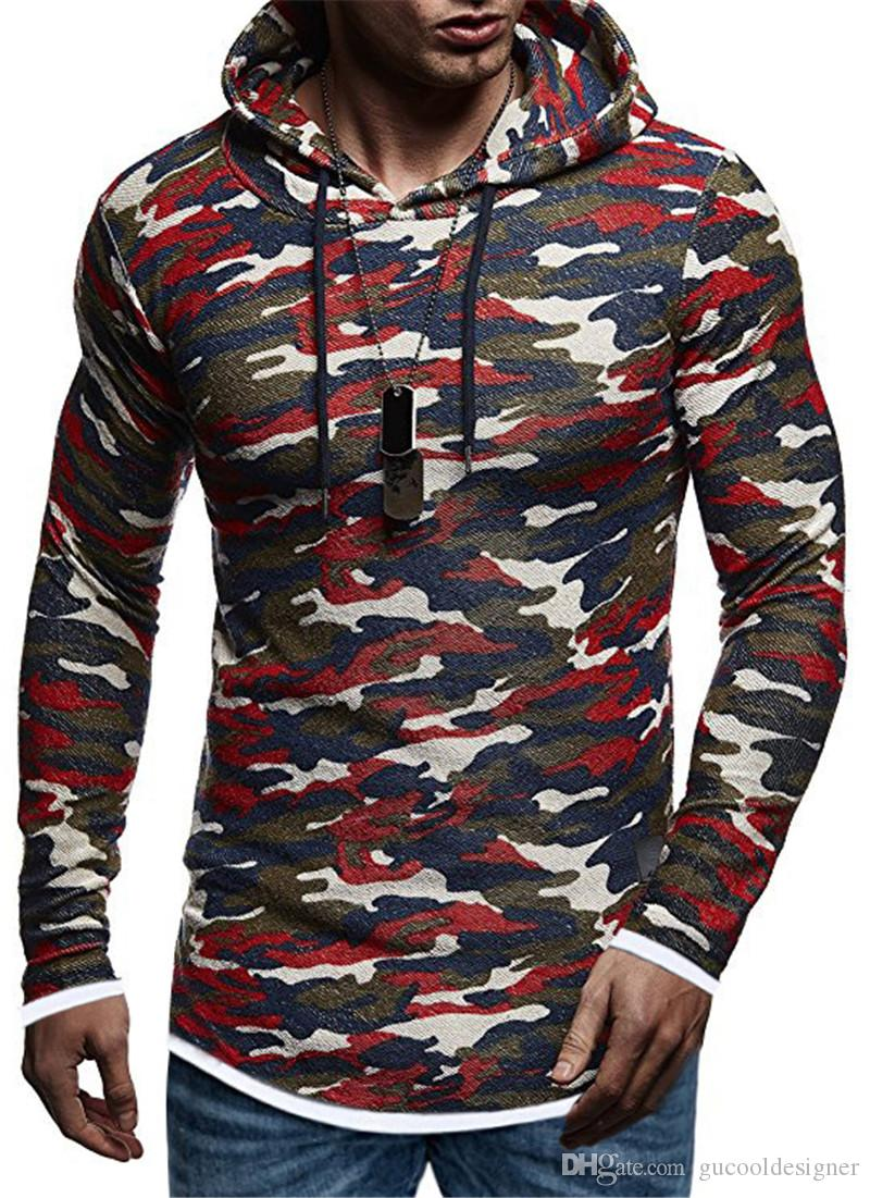 Mans Designer Camouflage Color Hoodies Fashion Autumn Winter Pullover Male Tees Casual Loose Sport Man Clothing