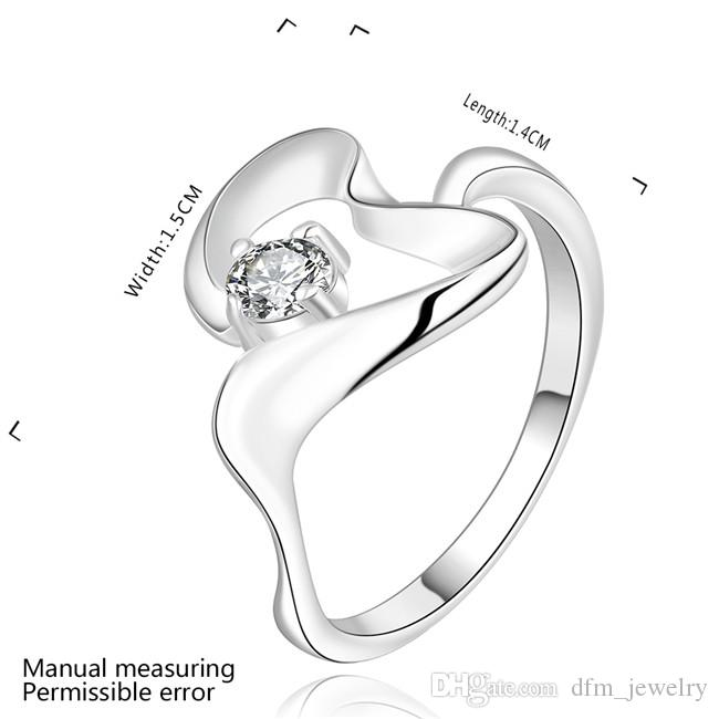 en forma de corazón populares plateado plata azul circón anillo tamaño DJSR466 de EE.UU. 8; 925 placa de plata anillos de solitario joyería de las mujeres calientes de la venta
