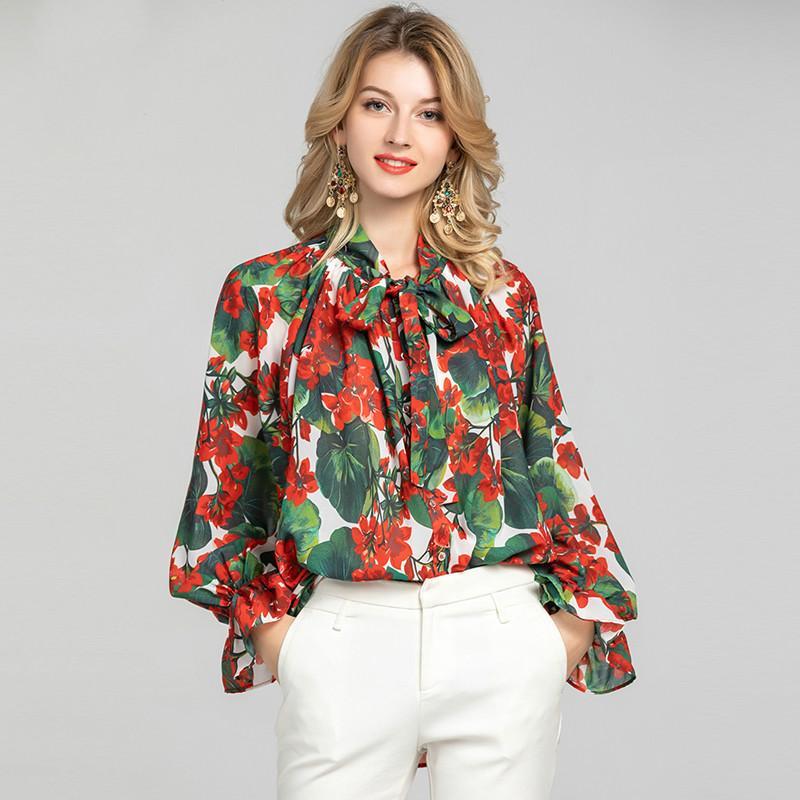 Desfile de moda solta blusa 2020 Primavera-Verão elegante Collar Bow floral vermelho Imprimir Chiffon Mulheres Shirt