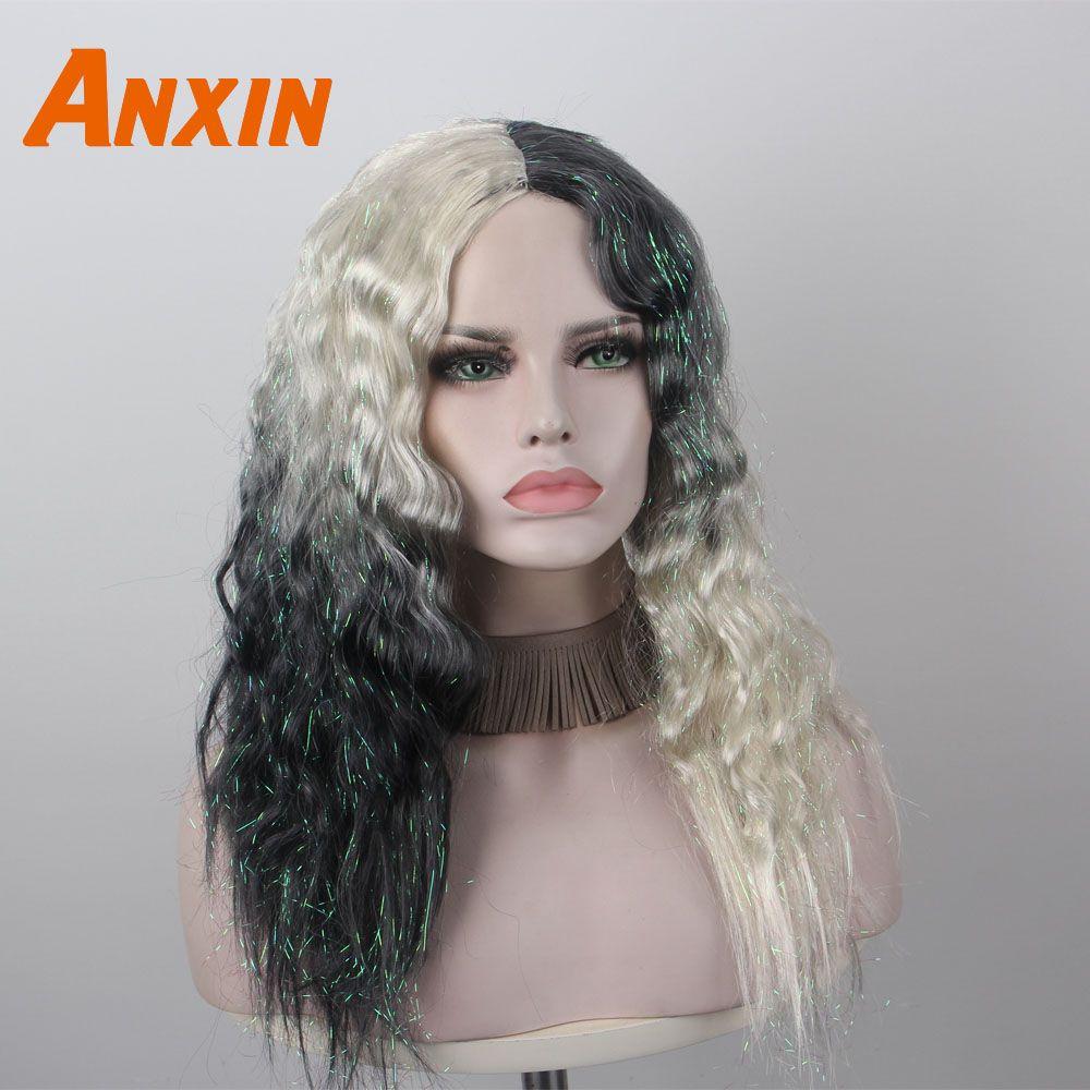 Anxin lungo riccio crespo moderna nuovo arrivano Mezza Bianco e nero Ombre sintetico parrucca non umani capelli per le ragazze di Cosplay del partito Quotidiano