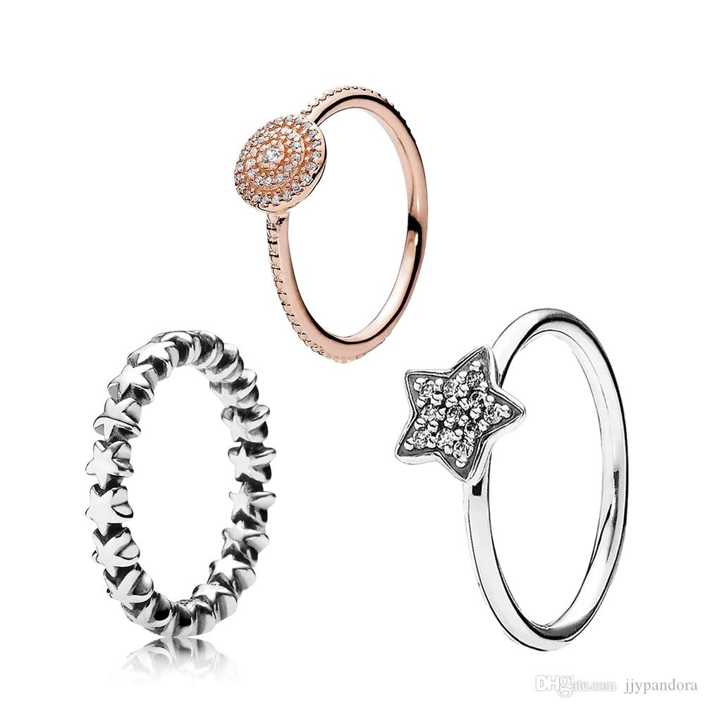 FAHMI 100% 925 Sterling Silver DIY Clear Pave Star Rose Radiant Elegance Ring DIY High Quality Ladies Jewelry Factory Direct Free Shipping