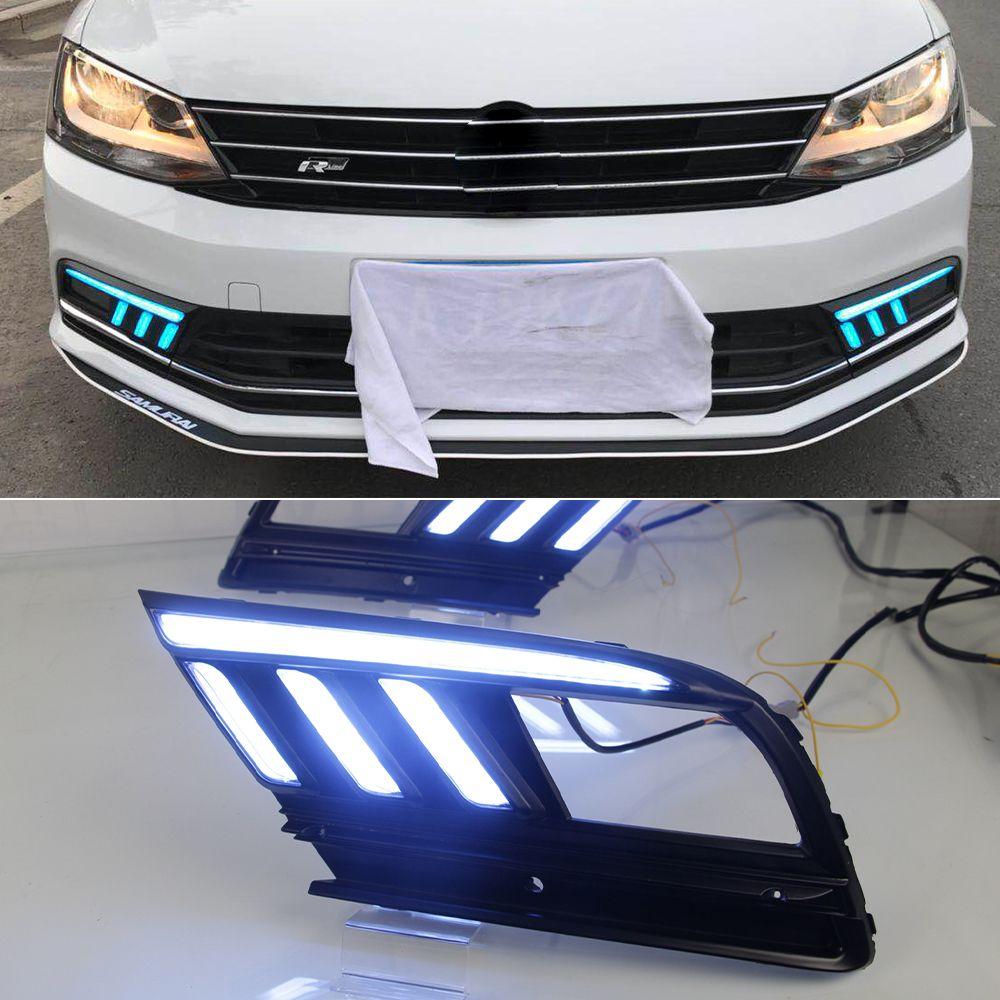 1 par LED luzes diurnas DRL e Streamer Vire luz de nevoeiro sinal para Volkswagen Jetta MK7 Sagitar 2016 2017 2018