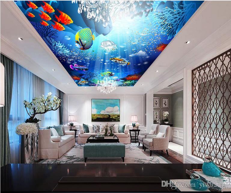 Carta da parati 3D personalizzata per foto 3D Romantica Underwater world ceiling ceiling mural Carta da parati a soffitto 3D Home Decor