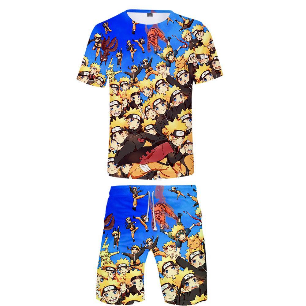 Naruto 3d gedruckt frauen / männer zweiteilige set mode sommer t shirts + shorts ankunft streetwear kleidung neue 2019