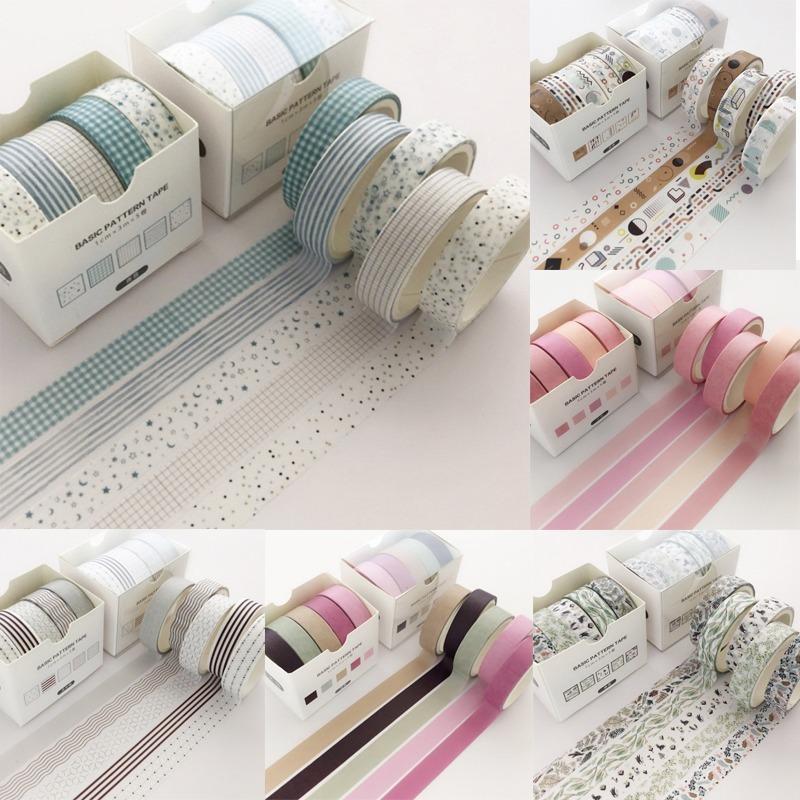 5 PC / paquete de cuadrícula creativo colorido de la cinta adhesiva decorativa Masking Tape Washi Scrapbooking etiqueta autoadhesiva de la Escuela de papelería 2016