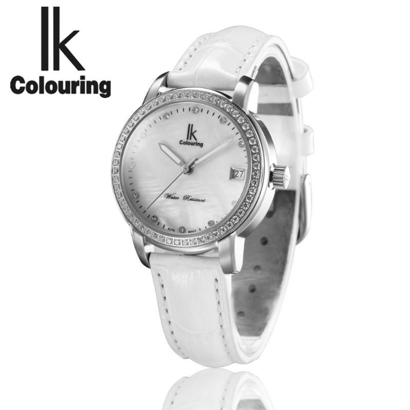 IK 착색 자동 기계식 시계 여성 화이트 시계 레이디 여성 손목 시계 소녀 드레스 시계 Montre Femme