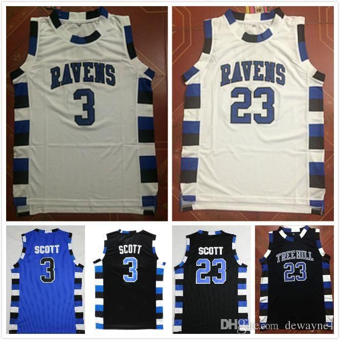 Université NCAA One Tree Hill Ravens Basketball Jersey Frère Film 3 Lucas Scott 23 Nathan Scott Black White Blue Drop expédition