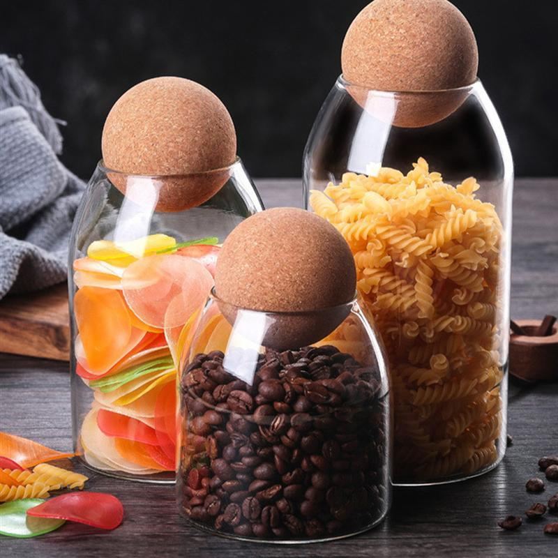500/800 / 1200ML borosilicato trasparente di stoccaggio di vetro sigillato Can Serbatoio alimentari Spice Grani contenitore con tappo in sughero Per la casa