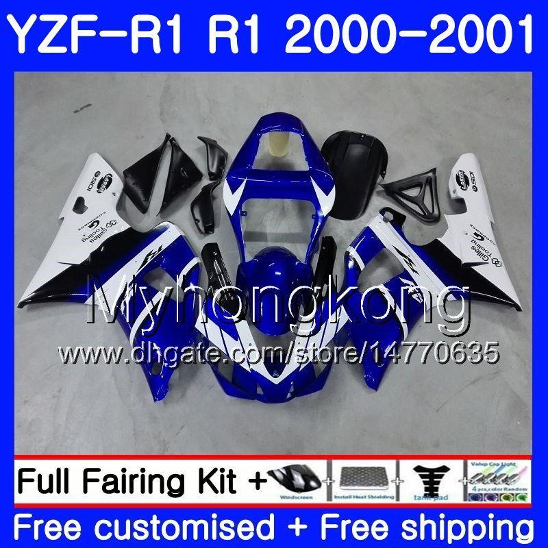 YAMAHA YZF 1000 YZF R 1 için gövde beyaz mavi stok YZF-1000 YZFR1 00 01 Çerçeve 236HM.15 YZF-R1 00 01 Kaporta YZF1000 YZF R1 2000 2001 Fairing