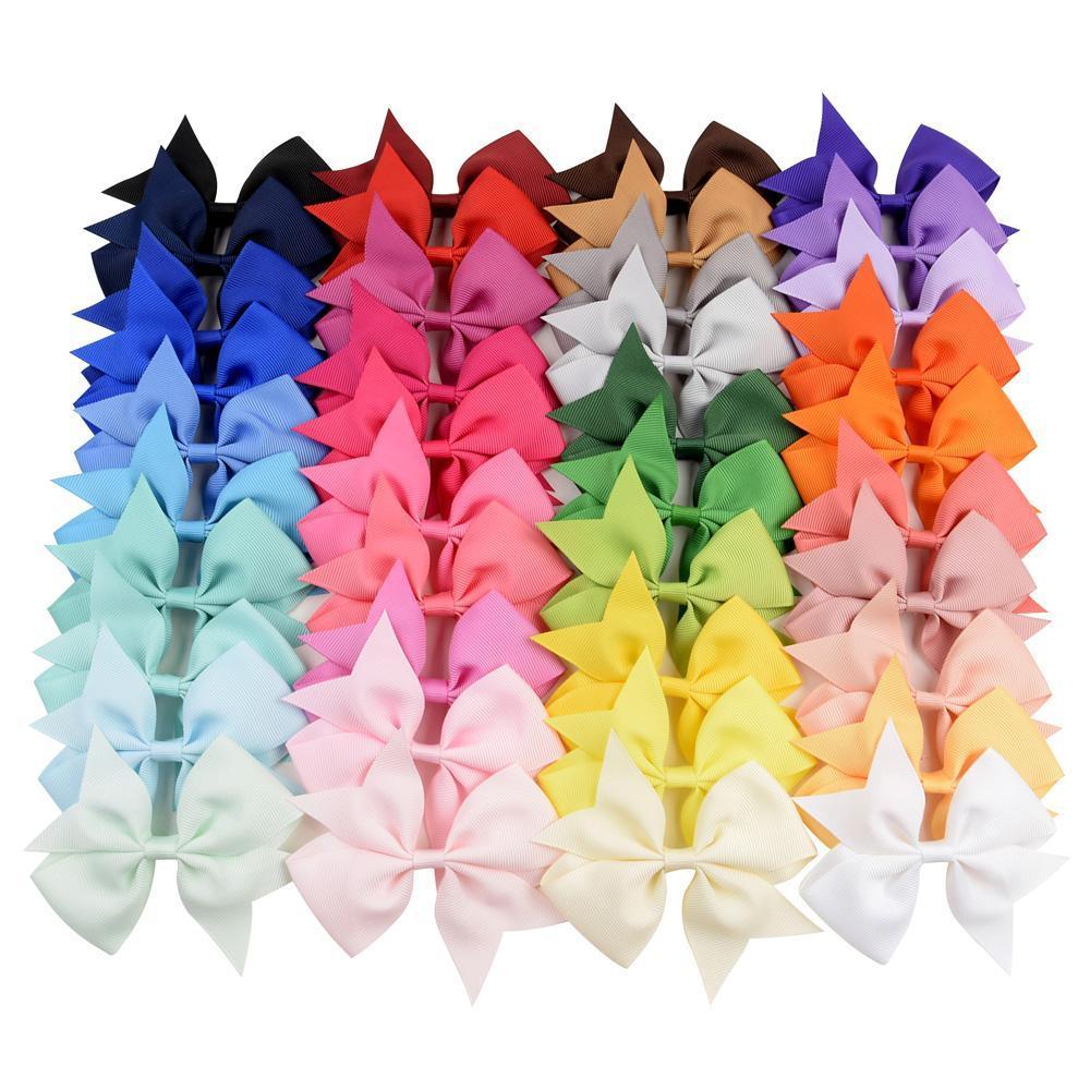 40pcs / Lot multicolores sólidos de la cinta del Grosgrain arcos del pelo con clip clips niñas hecha a mano Boutique pasador de pelo Accesorios para el cabello